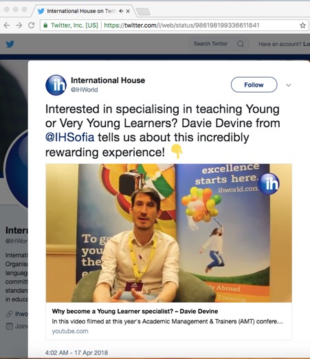 Davie Devine - our YL English teacher